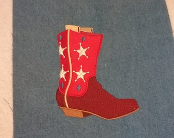 Embroidered Cowboy Boot on Denim