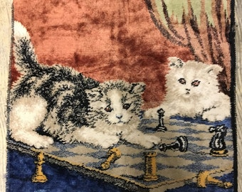 SALE Vintage Cats Playing Chess Chenille Velvet Pillow Covers