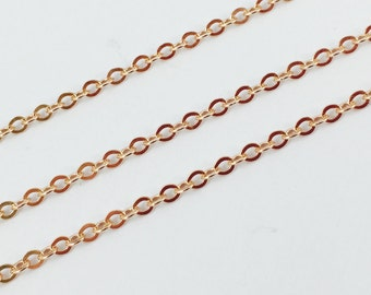 Rose Gold Chain,Gold plated Silver Chain-Strong Flat Cable Chain,Bulk Chain,Unfinished Chain 2.3mm-15 feet - 5% off -SKU:101051-RG