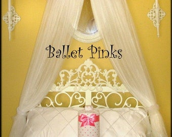 Embroidered Bed Canopy CROWN Personalized Monogram Princess Ballerina Ballet PiNk FrEe Name SaLe