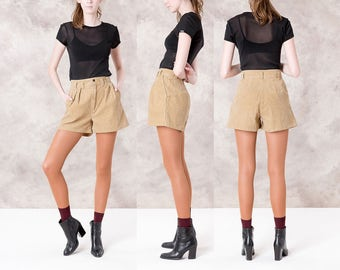 HIGH WAIST SHORTS corduroy Tan vintage Pleated trousers Palmetto's women brown minimal / Size 4 / waist 26 27 / better Stay together