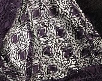 Eggplant Purple Crochet LACE Fabric - Eye Feather 1 Yard