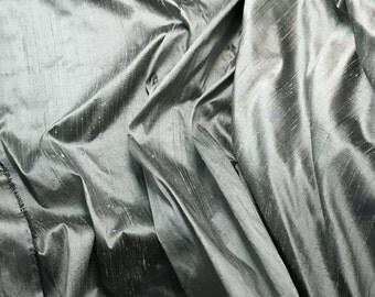 Dusty Victorian Blue Silk DUPIONI Fabric - fat 1/4