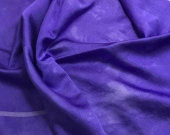 "Hand Dyed Iris Purple - Silk and Cotton Blend SATIN Fabric - 18""x22"""