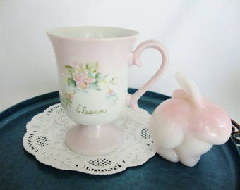 vintage cottage style cup pedestal mug pink and white teacup for Eleanor