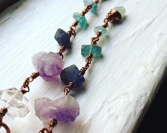 Raw Gemstone Dangle Earrings Shoulder Dusters Long Earrings Rustic Jewelry Daniellerosebean Long Gemstone Earrings Cyber Monday
