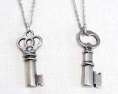Elnora  - silver key necklace - key charm necklaces - skeleton keys - key jewelry