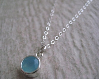 Blue Chalcedony Necklace- Sterling Silver, Gemstone, Setting, Simple Everyday Jewelry, Gift