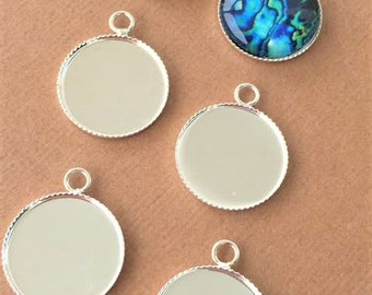 40 Silver Plated  Round THIN Bezels Pendants Tray Setting 16mm Circle Jewelry Making Necklaces