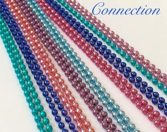 100 Fancy Colored  Ball Chains Necklaces 24 inches Blue Green Pink Purple Turqouise  2.4mm Brag Tags Jewelry Making