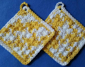 Two Bumpy Cotton Washcloths, handmade crochet washcloth dishcloth set - variegated yellow and white, Daisy Ombre
