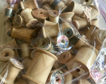 Vintage Wooden Thread Spools 20 pieces