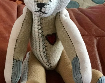 Vintage Bayless Bear dated ,5-18-89, Wool and Cotton Jointed Bear, Excellant Condition