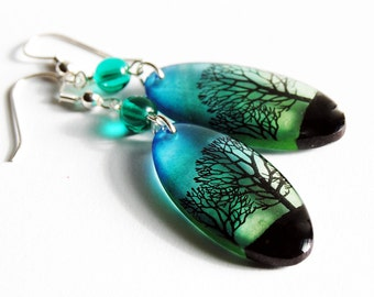 bottle gree sky oval earrings, blue green earrings,dangle earrings,gifts for her, gifts under 20