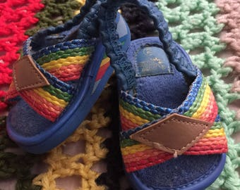 Vintage baby toddler rainbow sandals size 2