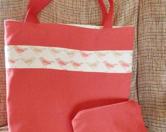 Tote, bag, purse, carryall, canvas, birds