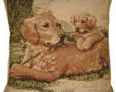 Golden Retriever and Puppies Tapestry Cushion Cover Sham