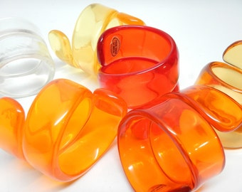 Lucite Napkin Rings Holders - Red Orange Yellow - Made in Hong Kong - Set of 6