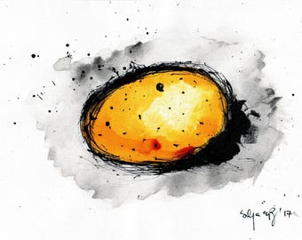 potato drawing - A4 -  8x12in - food art - potato painting for kitchen 1