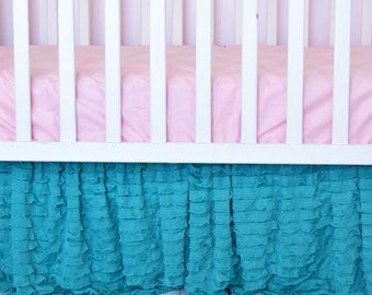 Mint Ruffle Crib Skirt - Crib Dust Ruffle - Mint Crib Skirt- Teal Nursery- Baby Girl Crib Bedding- Modern Crib Bedding Long Crib Skirt