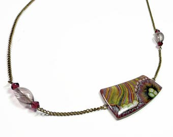 Bohemian Statement Crystal Necklace- polymer clay Pendant- Blown Glass Beads Necklace Gifts for Her Birthday Graduation