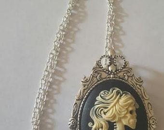 Skull, Skull necklace, Skellington necklace, Cameo, Cameo necklace, gothic, MsFormaldehyde