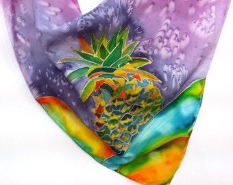 Pineapple Silk Scarf, Hand Painted Original Silk Scarves, Kauai Hawaii Hawaiian, Colorful Pineapples, Wearable Silk Painting, Birthday Gifts