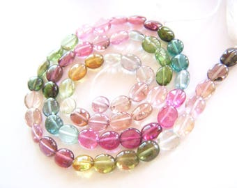Top Grade Candy Tourmaline Polished Ovals - Half Strand - 5x6mm - 7.5 Inches