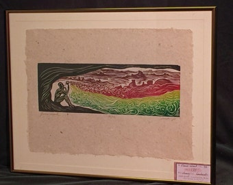 FRAMED 16X20 Flower Wizard Surreal Color Puzzle Woodcut on Hand Made Paper
