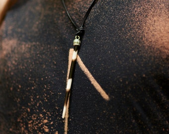 Single Spike Porcupine Quill Striped Necklace Pendant