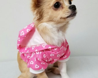 Dog Clothes Pink Hoodie, Chihuahua, Yorkie