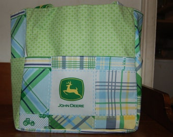 john deere green plaid tractor tote bag/purse/ diaper bag