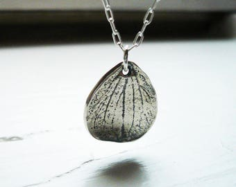 Hydrangea Peal Necklace in Sterling Silver - Little Textured Sterling Silver Leaf Necklace. Silver Petal Necklace. Hydrangea Petal Necklace.
