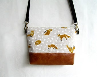 Adele PETITE Cross Body Bag //  Small Purse // Foxes //  Japanese Import Cotton and Faux Leather Purse //  Hip Bag