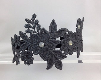 Handmade Vintage Lace Headband with intricate pattern and beaded embellishment