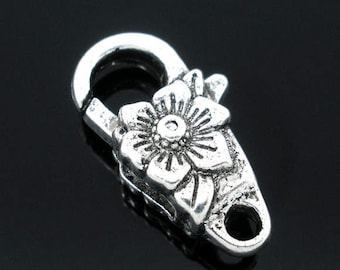 4 Flower Lobster Clasps Antique Silver Lobster Claw 24mm x 13mm F278