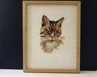 Charlie the Cat. Vintage needlepoint cat portrait.