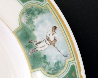 1930s golfer Black Knight China restaurantware golf plates.
