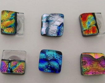 Single tiny dichroic glass studs  earrings