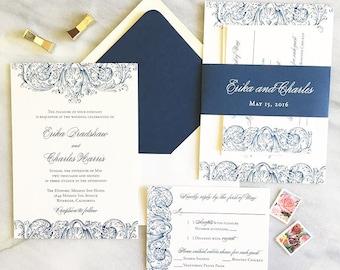 Whimsical Wedding Invitation - Romantic Wedding Invite