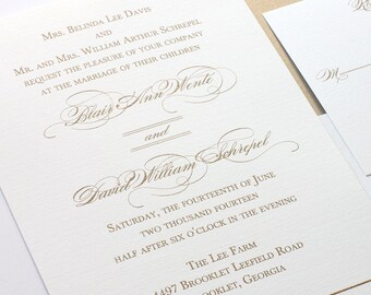 Gold Wedding Invite - Gold Wedding Invitation - Elegant Wedding Invite  - Thermography Wedding Invitation