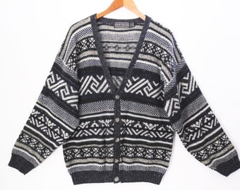 80's GRANDPA CARDIGAN // vintage southwest sweater // ethnic pattern // grunge size M L