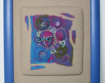 """TEXTILE ART: """"Pond Life"""" art piece in needle felt, beads and embroidery.  Detachable brooch."""