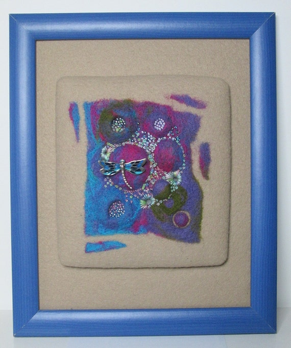 "TEXTILE ART: ""Pond Life"" art piece in needle felt, beads and embroidery.  Detachable brooch."
