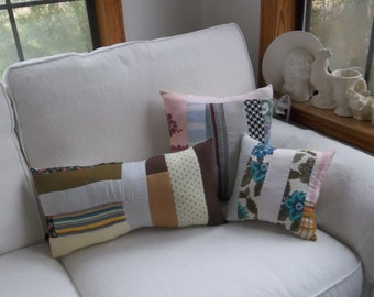 Set Vintage Quilt Pillows Handmade Pillows Antique Quilt Pillows Porch Pillows Primitive Bedding Patriotic Pillows French Country Prairie