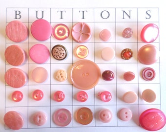 35 Vintage Pink Buttons Pearl Buttons Sewing Crafts Cardmaking Scrapbooking
