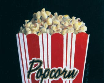 Popcorn 6x6 original oil painting realistic still life by Nance Danforth