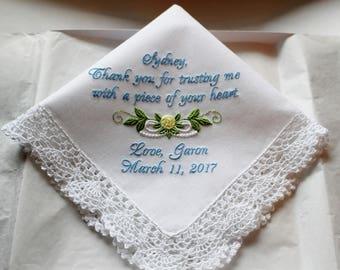 Custom Embroidered Mother of the Groom Wedding Handkerchief, Hankie, Hanky Personalized