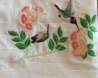 Set of 2 embroidered dish towels, hummingbirds & flowers, flour sack towels, tea towels, kitchen towels, can purchase just one