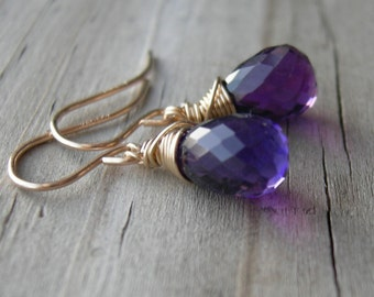 Amethyst Gold Fill Wire Wrapped Earrings Holiday Jewelry February Birthstone